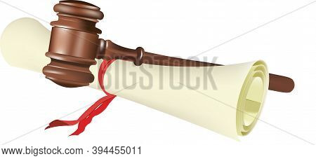 Parchment With Judicial Auction Gavel Parchment With Judicial Auction Gavel