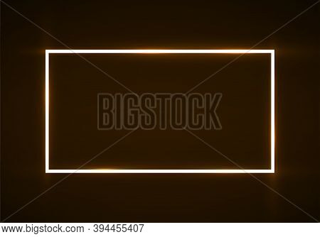 Neon Rectangle Frame With Glowing Effect On Dark Background, Geometric Element