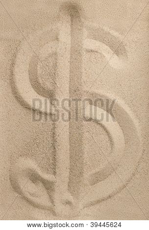 Dollar sign from sand