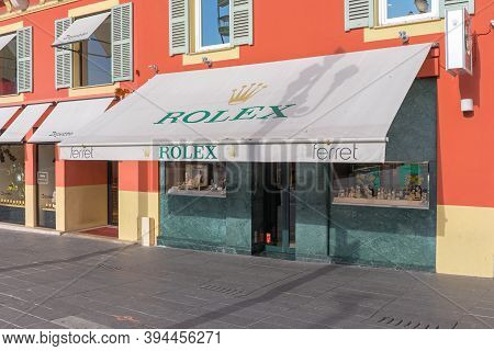 Nice, France - January 31, 2018: Rolex Luxury Shop Ferret In Nice, France.