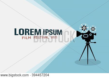 Detailed Retro Movie Projector With Film Reels On A Tripod Projecting A Beam Of Light. Cinema Movie