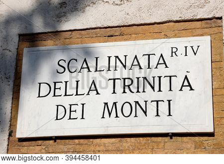 Text In The Famous Steps Of Trinita Dei Monti In The Capital Of Italy Rome