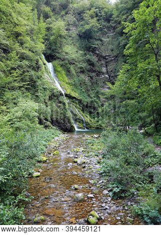 Pristine Natural Environment With A Beautiful Waterfall In The Middle Of The Forest And The Stream O