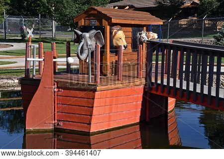 Rapid City, South Dakota, August 16, 2020: A Scene Of Noahs Ark And Animals Is Found At Storybook Is