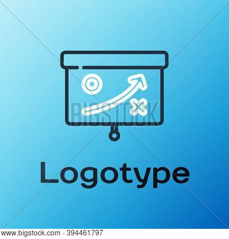 Line Planning Strategy Concept Icon Isolated On Blue Background. Cup Formation And Tactic. Colorful