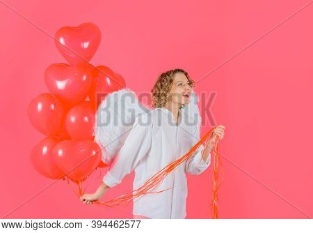 Valentines Day Cupid. Cupid Angel Woman With Balloons. Cupid In Valentine Day. Woman Cupid. Valentin