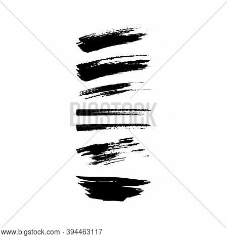 Vector Grunge Brushes Set. Black Brush Strokes, Stains, Ink, Dry Brush Collection. Dirty Artistic Ha