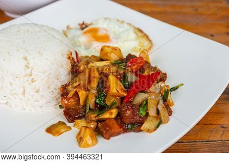 Stir Fried Chili Paste Rice With Fried Egg, Thai Local Food