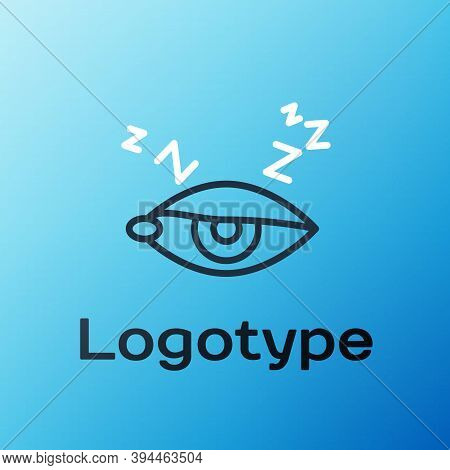 Line Insomnia Icon Isolated On Blue Background. Sleep Disorder With Capillaries And Pupils. Fatigue