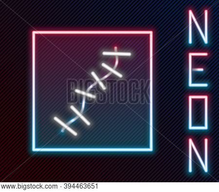 Glowing Neon Line Scar With Suture Icon Isolated On Black Background. Colorful Outline Concept. Vect