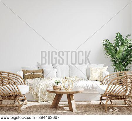 White Cozy Living Room Interior, Coastal Boho Style, 3d Illustration