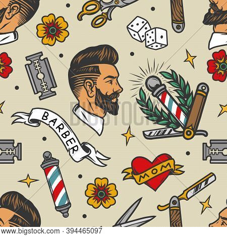 Barbershop Tattoos Colorful Seamless Pattern In Vintage Style With Stylish Man Head Scissors Barber
