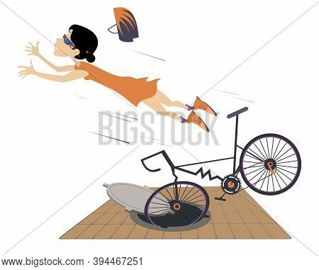 Cyclist Woman Falling Down From The Bicycle Illustration. Cyclist Young Woman Gets Into A Sewer Manh
