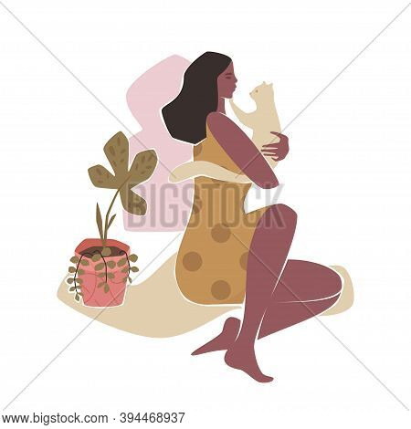 Cat Lady Trendy Scenery In Washed Colors. Modern Persona Illustration With Young Woman Holding White