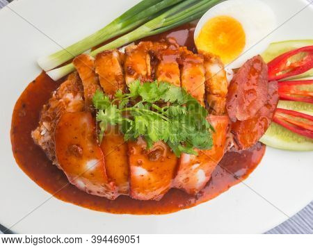 Red Crispy Pork And Roasted Pork With Red Sauce On Rice