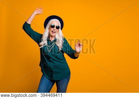 Photo Of Crazy Granny Lady Young Spirit Music Lover Senior Party Cool Look Dancing Youngster Moves W