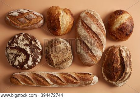Natural Sourdough Bread Baked With Organic Flour. Spelt Wheat, Buckwheat, Rye Bread Isolated Over Be