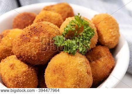 Homemade Croquettes In A Ceramic Bowl. Typical Spanish Appetizer. Close Up View