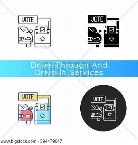 Drive Through Voting Booth Icon. Polling Station. Express Election Service. Driver Voter In Car. Aut