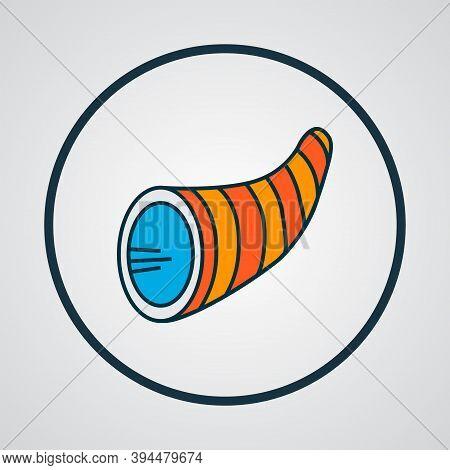 Cornucopia Icon Colored Line Symbol. Premium Quality Isolated Thanksgiving Element In Trendy Style.
