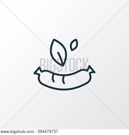 Vegan Sausage Icon Line Symbol. Premium Quality Isolated Bratwurst Element In Trendy Style.