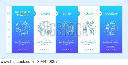 Milk Products Onboarding Vector Template. Dairy Industry. Farm Manufacture. Lactose Food. Organic Fo