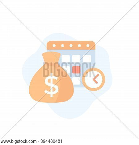 Payment Calendar, Payday Vector Icon, Eps 10 File, Easy To Edit