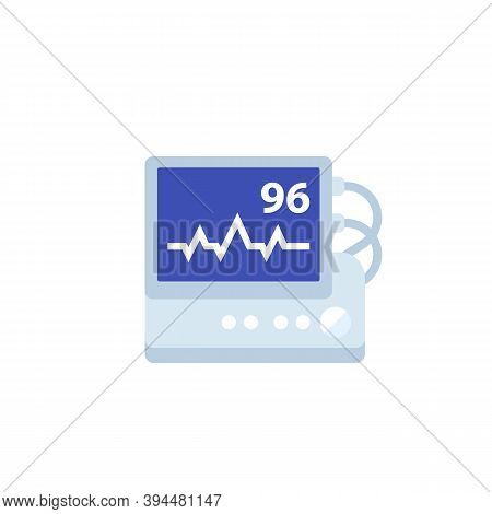 Ecg, Heart Rate Monitor Vector Flat Icon, Eps 10 File, Easy To Edit