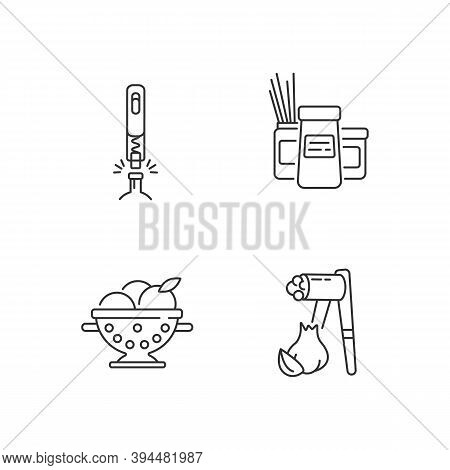 Food Preparation Tools Linear Icons Set. Corkscrew For Bottle. Kitchen Storage Containers. Garlic Pr