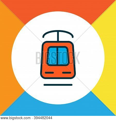 Tramway Icon Colored Line Symbol. Premium Quality Isolated Streetcar Element In Trendy Style.