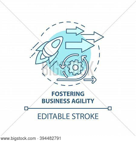 Fostering Business Agility Concept Icon. Business Consulting Task Idea Thin Line Illustration. Rapid