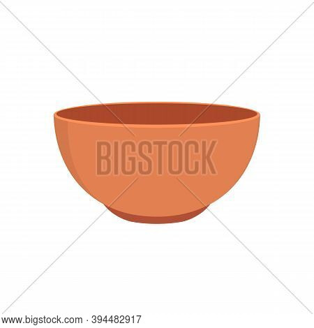 Empty Clay Bowl Isolated On White Background. Example Of Pottery. Ceramic Kitchen Dishware. Vector I