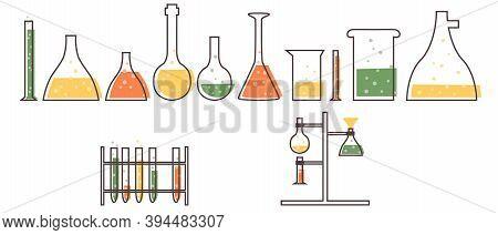 Set With Medical Laboratory Equipment. Test Tube, Jars, Beakers, Flasks And Test Tube Holder. Solete