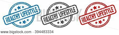Healthy Lifestyle Stamp. Healthy Lifestyle Round Isolated Sign. Healthy Lifestyle Label Set