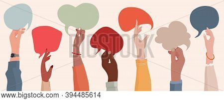 Group Communication Of Multi-ethnic And Multicultural Men And Women. Raised Hands Holding Speech Bub