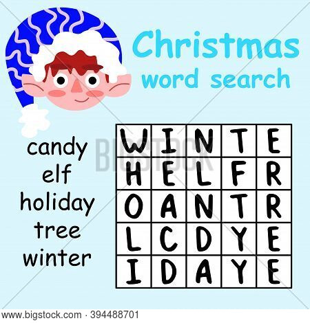 Christmas Word Search Puzzle For Kids Stock Vector Illustration. Help Elf And Find All Words In Puzz