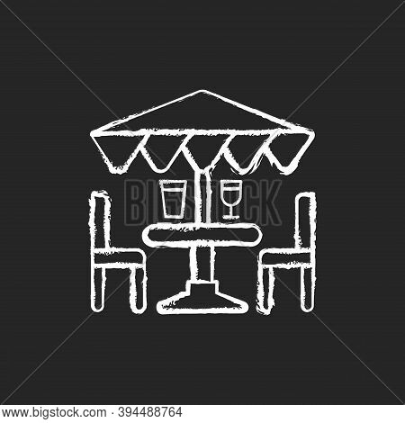 Patio Furniture And Accessories Chalk White Icon On Black Background. Outdoor Lounge Furniture. Pati