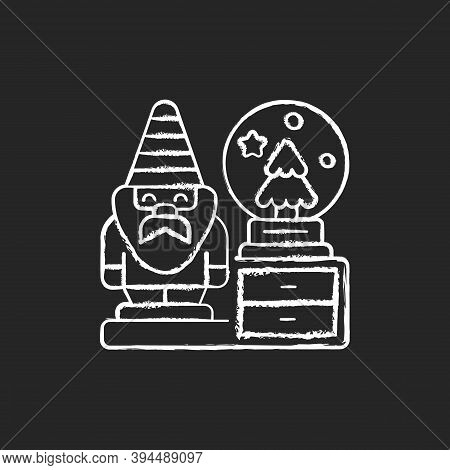 Decorative Figurines Chalk White Icon On Black Background. Living Room Statues. Indoor Sculptures. G