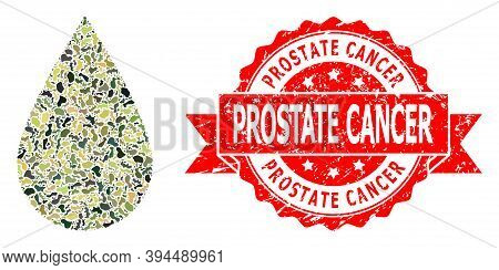 Military Camouflage Combination Of Blood Drop, And Prostate Cancer Dirty Seal Imitation. Red Seal Co