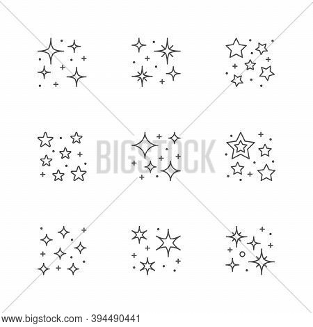 Set Icons Of Star Shine Isolated On White. Twinkle And Sparkle Symbol. Vector Illustration