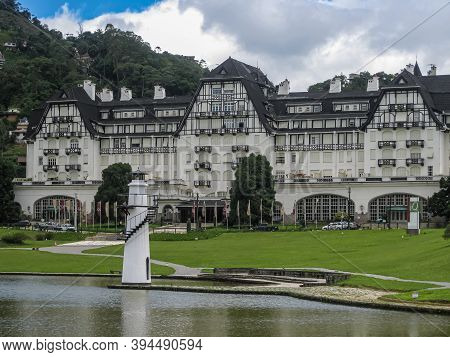 Petropolis, Brazil - December 23, 2008: Iconic And Historic Palacio Quitandinha Hotel, White Walls A