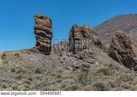 Mountain Landscape.teide Finger Near The Teide Volcano (tenerife, Spain). Stock Photo