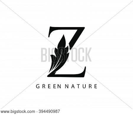 Nature Z Letter Green Leaf Logo Design.