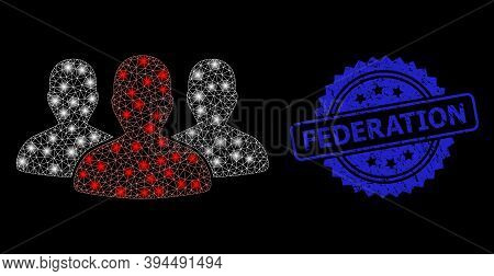 Glossy Network Leader Men Group With Glowing Spots, And Federation Unclean Ribbon Seal Print. Blue S