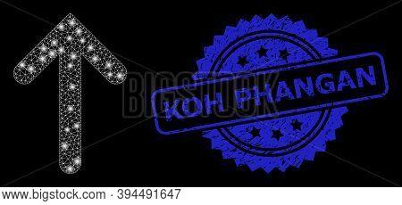 Glossy Mesh Up Arrow With Light Spots, And Koh Phangan Grunge Ribbon Seal Imitation. Blue Seal Inclu