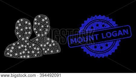 Glowing Mesh Users With Glowing Spots, And Mount Logan Corroded Ribbon Watermark. Blue Seal Contains