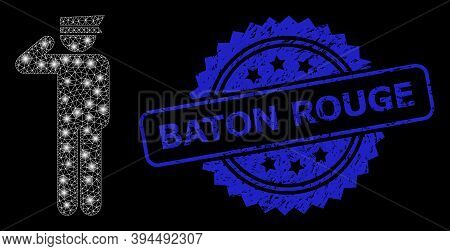 Glowing Net Police Officer With Light Spots, And Baton Rouge Textured Ribbon Seal Print. Blue Seal H