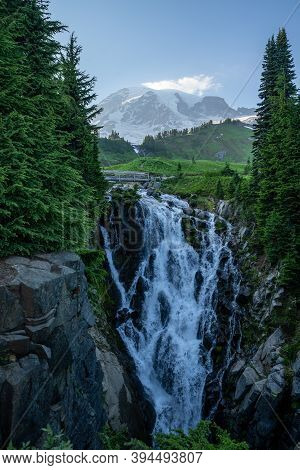 Myrtle Falls In Mt Rainier National Park In Washigton State