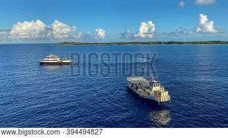 Half Moon Cay/bahamas-10/31/19: A Cruise Ship Tender In The Bay Of A Bahamas Island.