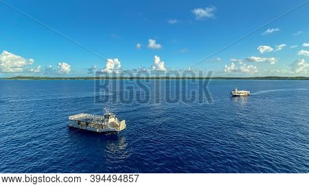 Half Moon Cay, Bahamas - October 31, 2019:a Tender Ready To Pick Up Passengers Off The Holland Ameri